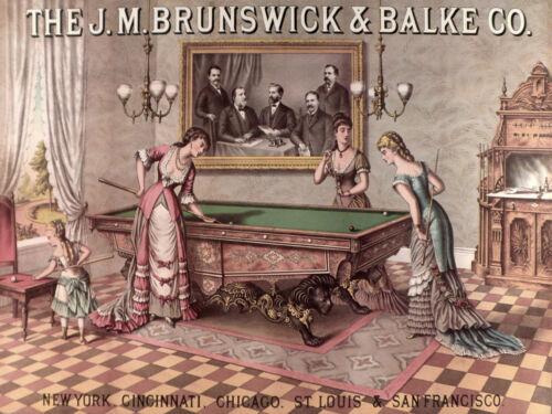 Quality POSTER.Victorian Brunswick Ladies women Pool table game.Design art.v1879