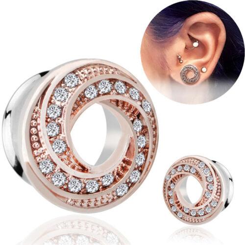 StainlessSteel Crystal Screw Ear Gauges Flesh Tunnels Plugs Stretchers Expanders