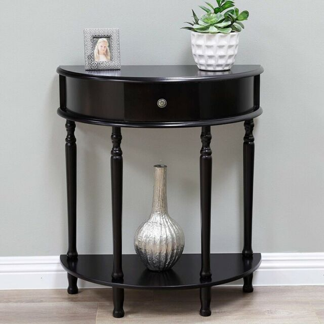 Small Half Moon Console Table Entryway Hall Wooden Living Room Accent Display