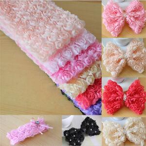 1-Yard-6-Row-3D-DIY-Sewing-Craft-Fabric-Decor-Chiffon-Rose-Flower-Lace-Trim-HOT