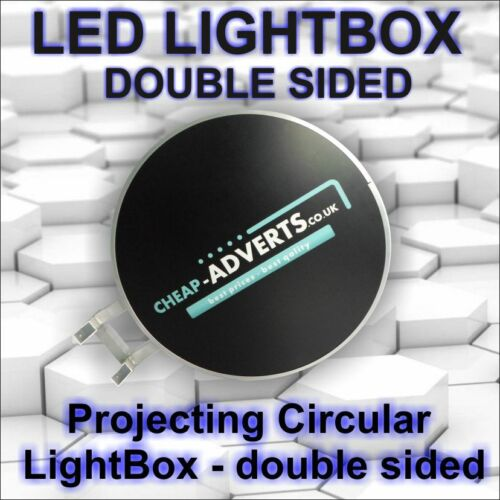 Double Sided Outdoor Round Illuminated Projecting Light Box Sign D500mm LED !!