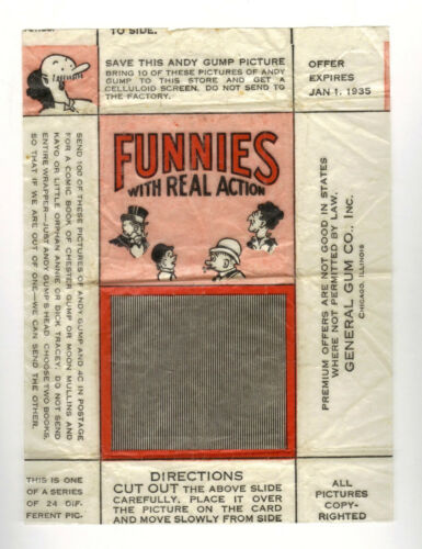 1934 R56 General Gum Co. Funnies Original Card Wrapper with card Andy Gump