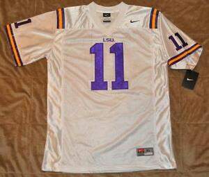 best loved a4b65 837dd Details about LSU TIGERS Nike Football Jersey # 11 SEWN ON PATCHES White  Youth Large NWT 💛💜