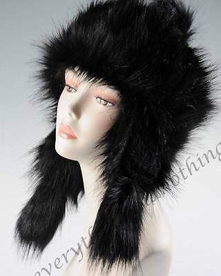 Wool Faux Fox Fur Winter Mongolian Hat Ushanka Trapper Russian Style - Black