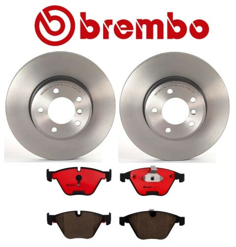 For BMW E60 535Xi Front Brake Kit Coated Vented Disc Rotors Ceramic Pads Brembo