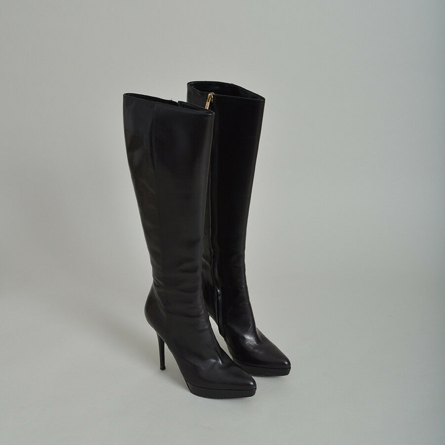Yves Saint Laurent Black Janis Knee High Boots - Size 37.5