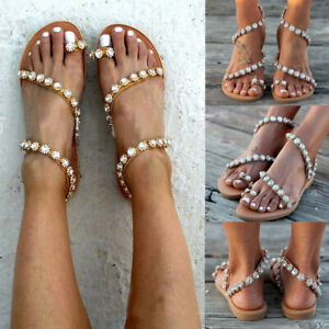 a2cf12279 Image is loading Women-Flower-Sandals-Boho-Beach-Casual-Shoes-Rhinestone-