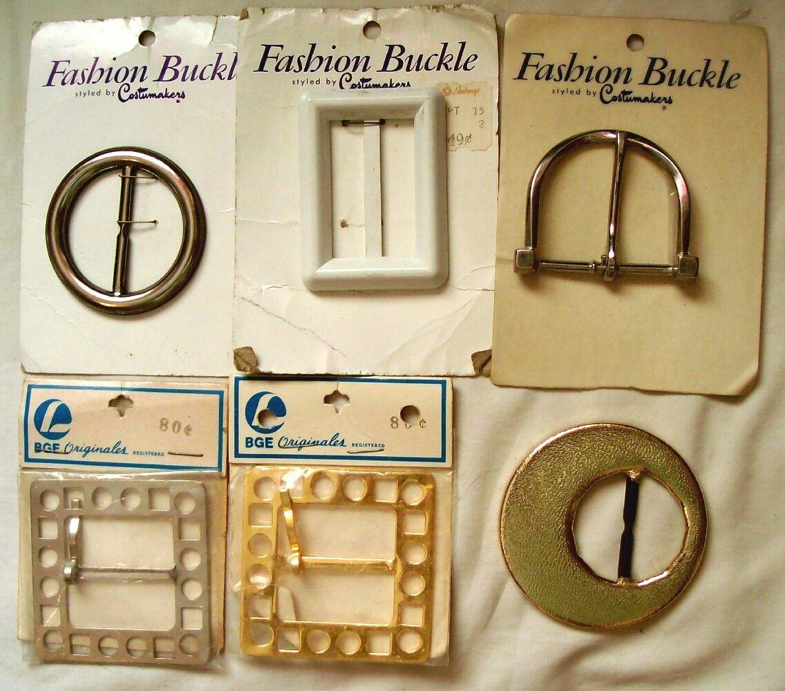 Lot of 6 Vintage Belt Buckles - 3 Fashion Buckle by Costumakers, 2 BGE Originals