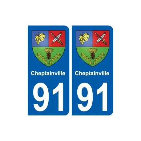 91 Cheptainville blason autocollant plaque stickers ville droits