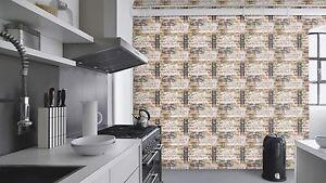Details zu EUR 1,55/qm / Steintapete Küche/ American Diner / Ziegel Schrift  /Rasch 238600