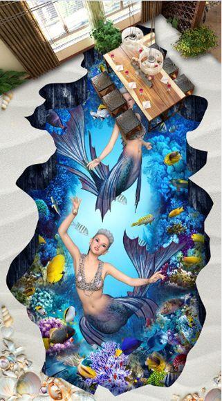 3D playa peces Piso impresión de parojo de papel pintado mural 5828 Calcomanía 5D AJ Wallpaper