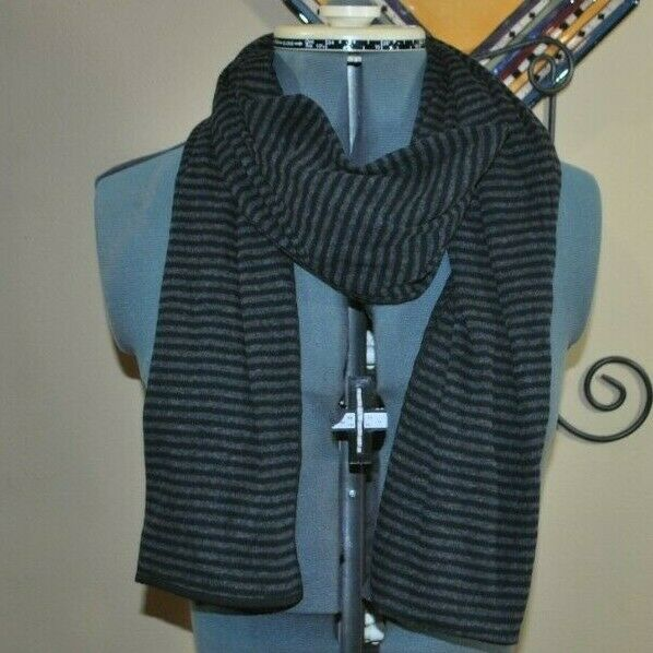 NM Luxury Essentials Cotton/Cashmere Scarf Black/Gray 27