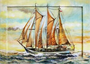 Painting-Yacht-Port-Sea-Oil-Ships-Oil-Painting-Picture-Oil-Frame-Pictures-G02878
