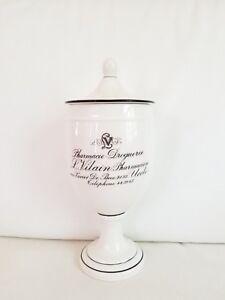 Vilain Vintage Classic French Pharmacie Droguerie Bath Cotton Ball Canister L