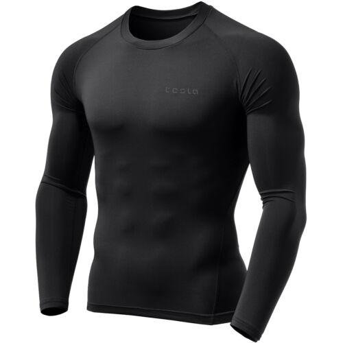 Black//Black TSLA Tesla MUD01 Cool Dry Long Sleeve Compression Shirt