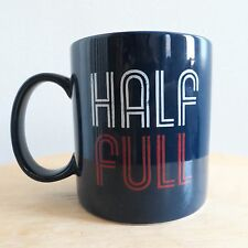 """Life is Good Home """"Half Full"""" coffee mug cup in dark blue - one tiny chip on rim"""