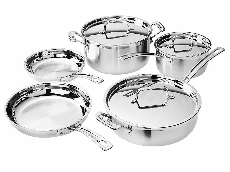 CUISINART Multiclad Cookware Set (8 pièces) offrant en Acier Inoxydable Couvercles
