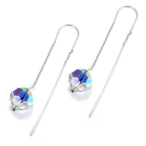 Sterling Silver 10mm Aurora Borealis Crystal Threader Pull Through Drop Earrings