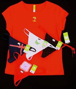 New 5 pc lot sz M HUE Teeshirt Sleep Top 4 G-String Thong Panties red blue Med
