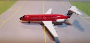 "AEROCLASSIC BRANIFF ""RED JELLYBEAN"" BAC-111 1:400 SCALE DIECAST METAL MODEL"