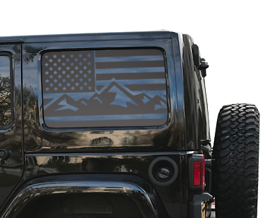 Jeep Hardtop Flag Decal Mountain USA American Wrangler JKU JLU 4Dr Rubicon  HS20