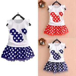 Toddler-Kids-Baby-Girls-Summer-Outfits-Clothes-T-shirt-Tops-Skirt-Dress-2PCS-Set