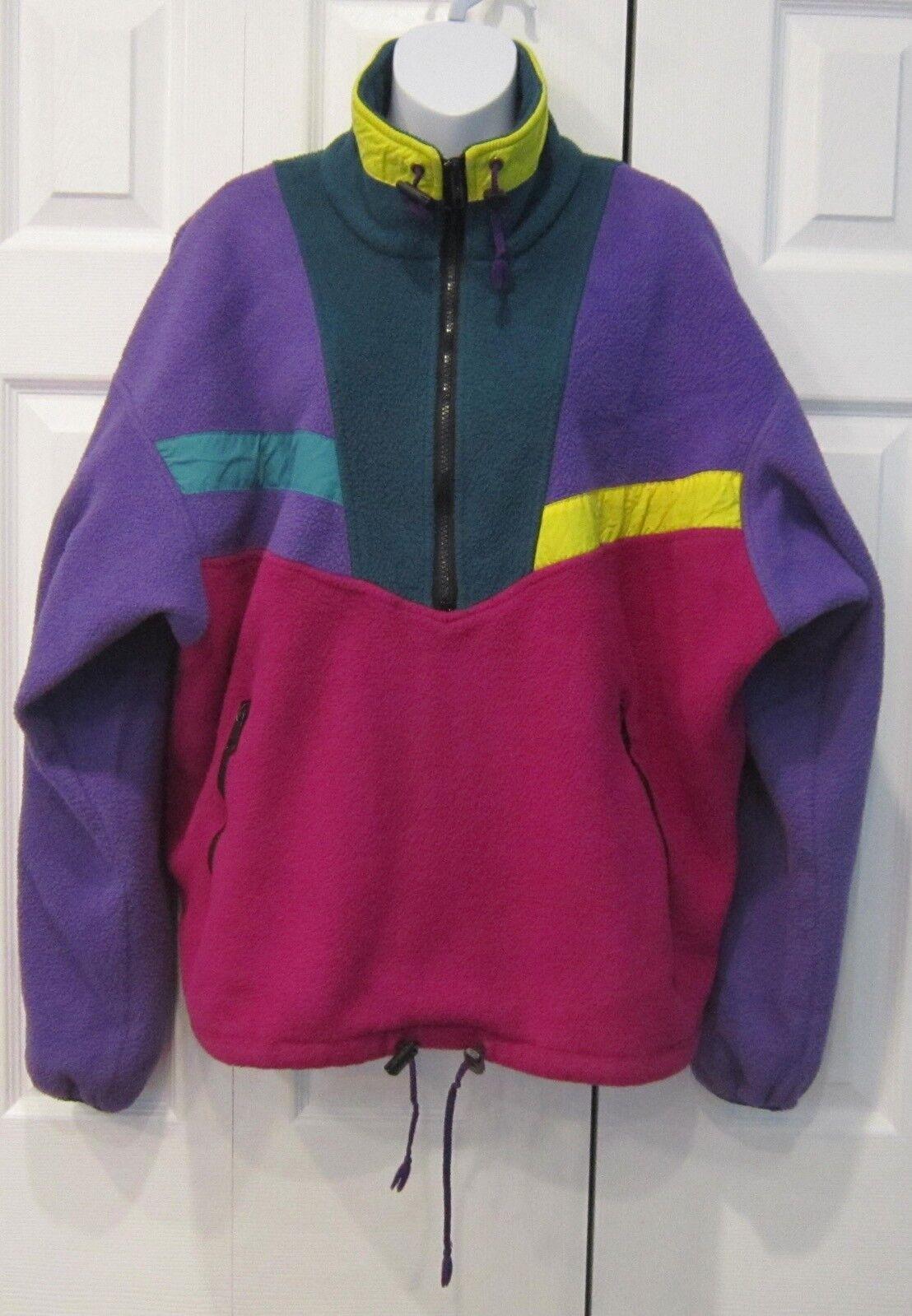 Vintage 90s Bright Colour Block PolarLite Vau De Malden Sweatshirt Pullover M