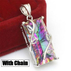 925-Silver-Mystic-Rainbow-Topaz-Pendant-Long-Chain-Choker-Necklace-Party-Jewelry