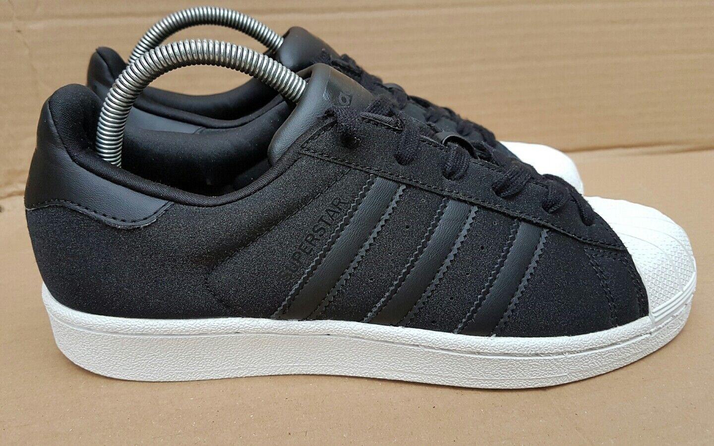 Adidas Superstar Shine Baskets Taille 5 UK NOIR PAILLETTES SPARKLE Excellent ordre