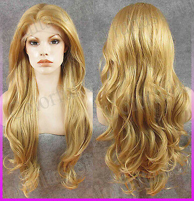 """26"""" inch Golden blonde Long Front lace wig full wigs Women Wavy curly Lace wig"""