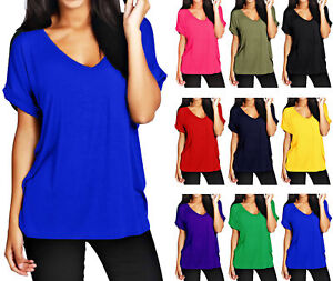 NEW-WOMENS-LADIES-BAGGY-TURN-UP-SHORT-SLEEVE-TOP-LOOSE-FIT-TOP-T-SHIRT-SIZE-8-26