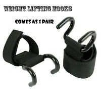 4fit Power Weight Lifting Training Gym Hook Grips Straps Wrist Support Black