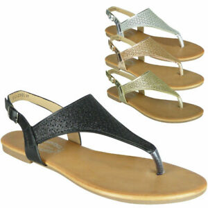 Womens-Toe-Post-Sandals-Ladies-Sling-Back-Sandals-Summer-Flat-Sandals-Shiny-Shoe