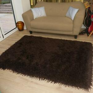 Modern-Shaggy-Very-Thick-9cm-Soft-Touch-Chocolate-Brown-Rug-5-Sizes-Carpet