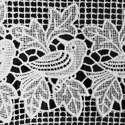 Scheibengardine Plauener Spitze ® Bistrogardine weiß 52x160 Vögel + Blätter