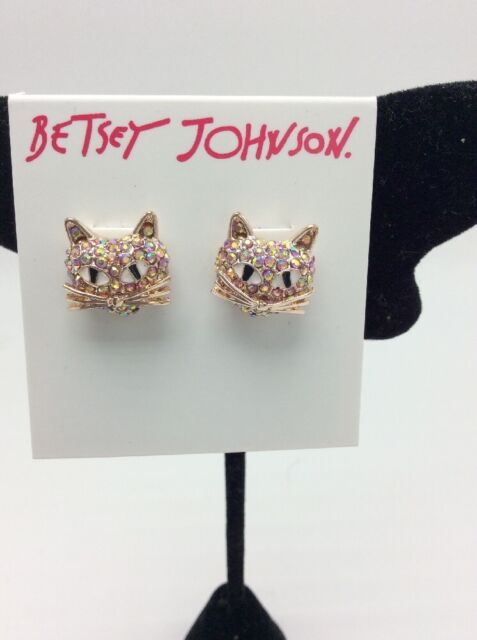 1ff6fda95 Betsey Johnson Rose Gold Tone Crystal Face Cat Stud Earrings for ...