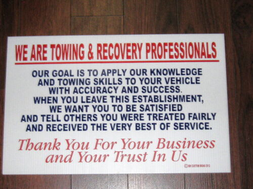 Auto Service Shop Sign We Are Towing /& Recovery Professionals
