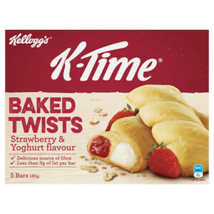 Kellogg's K-Time Baked Twists Strawberry & Yoghurt Flavour Filled Snack Bars ...