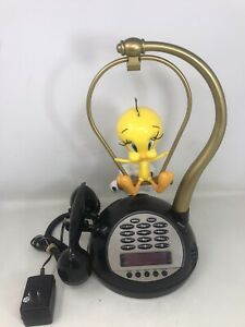 Vintage Telemania - Talking Tweety Bird Radio / Alarm Clock / Phone Sylvester