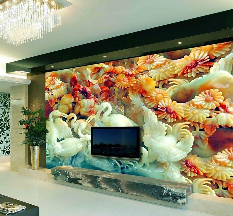 3D Jade Oiseau 67 Photo Papier Peint en Autocollant Murale Plafond Chambre Art