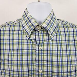 Brooks-Brothers-1818-Mens-Green-Blue-Check-L-S-Dress-Button-Shirt-Sz-Medium-M