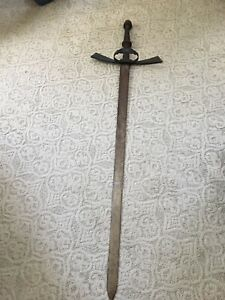 Vintage-Brass-Handle-Stainless-Steel-Medieval-Sword-Wall-Decor-Large-5ft-x-16