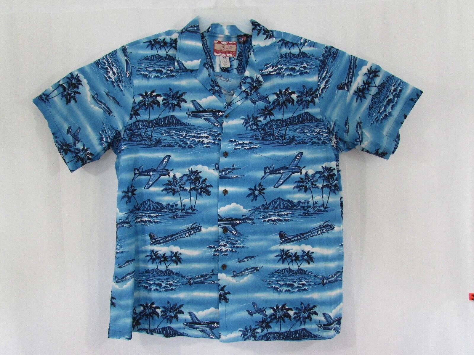 RJC Hawaiian Shirt bluee Vintage WW2 fighters bombers planes 2XL Made in Hawaii