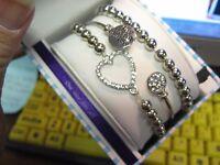 Bella Perlina European 3 Piece Silver Bracelet Set /  Live The Life You Love