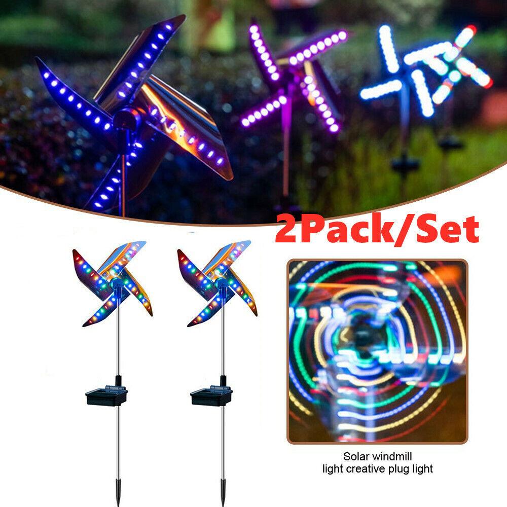 2 Pack LED Outdoor Solar Ground Light Garden Lawn Windmill Light Waterproof