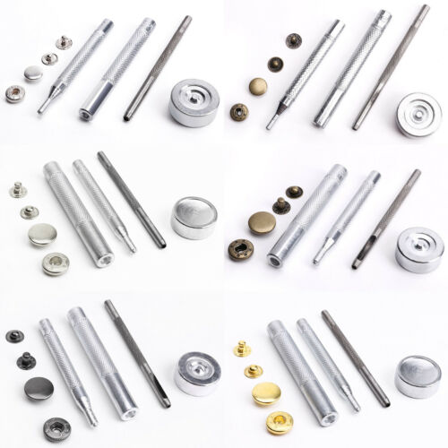 50 Metal Poppers Snap Clasp Fasteners Press Stud Kit Leather Craft Jacket Button