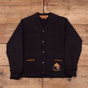 Mens-Vintage-Lasley-Knitting-1950s-Navy-Wool-Cardigan-Sweater-Small-36-XR-9797
