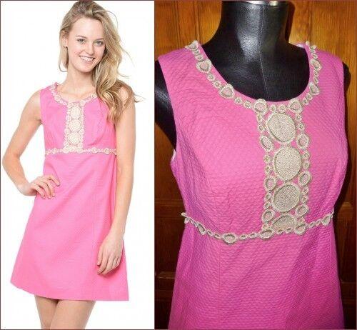 LILLY PULITZER Gold Trim Lace Solid Rosa Cotton Empire Waist DRESS sz 6