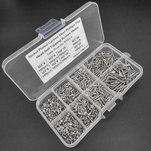 800x Edelstahl Blechschrauben Sortiment Kit Kontermutter M2 Schrauben Box Set DE