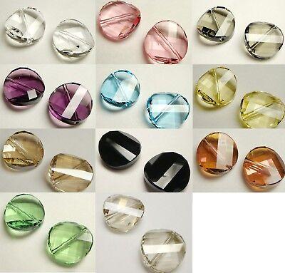 1pc Swarovski® 5621 Crystal Silver Shad Twist Bead 14mm